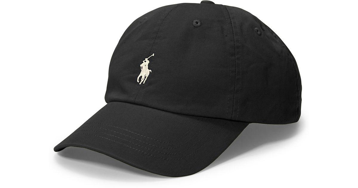 22f40f03ca5e7 Polo Ralph Lauren Polo Script Chino Baseball Cap in Black for Men - Lyst