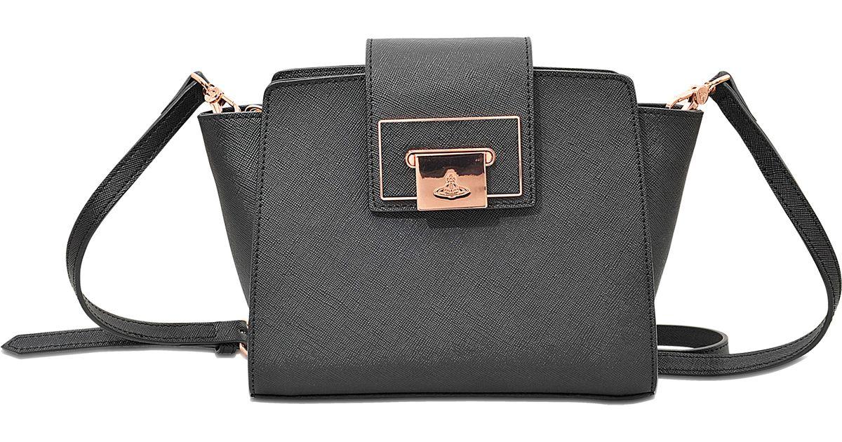 bfa054e043 Vivienne Westwood Opio Saffiano Crossbody Bag in Black - Lyst