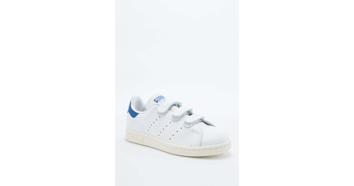 e80038fe9041 adidas Originals Stan Smith White   Blue Velcro Trainers in White - Lyst