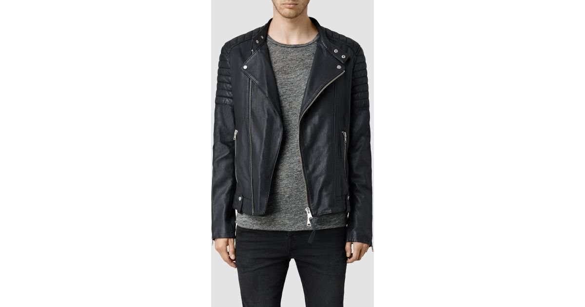 bacd9338b8 AllSaints Jasper Leather Biker Jacket in Blue for Men - Lyst