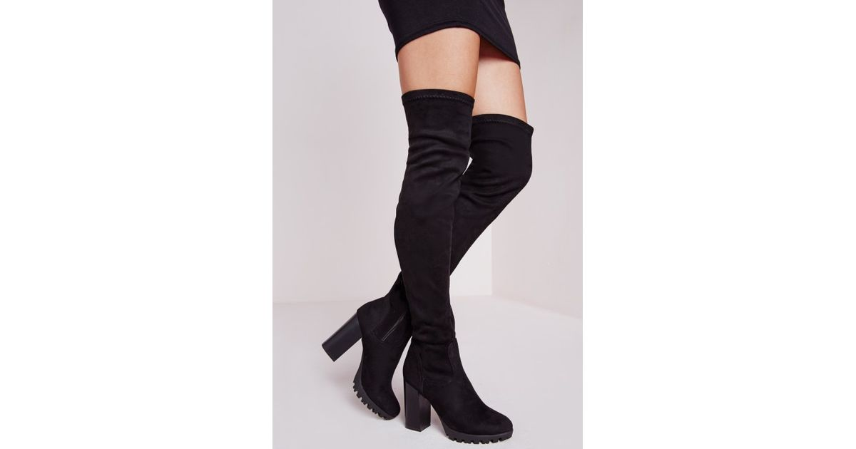 c06cdf8ca41 Lyst - Missguided Over The Knee Cleated Sole Boots Black in Black
