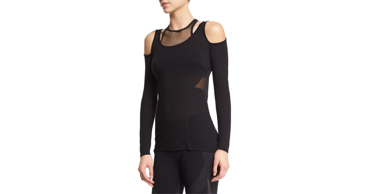 6de3e9fa305002 Lyst - Michi Kali Cold-shoulder Mesh-inset Sport Top in Black