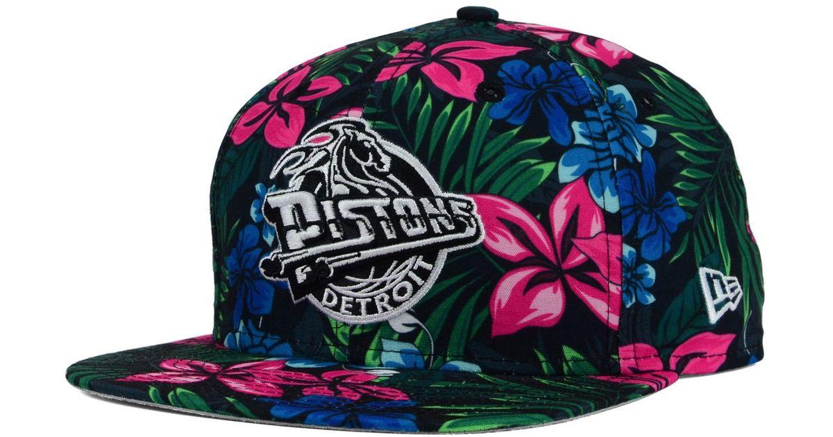 reputable site 65cd6 5e87d KTZ Detroit Pistons Hwc Shadow Floral 9fifty Snapback Cap in Black for Men  - Lyst