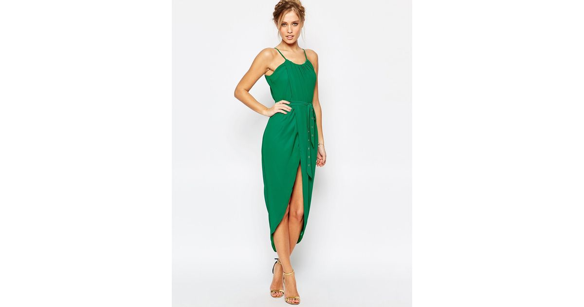 Lyst - Tfnc London Pleated Wrap Front Midi Dress With Belt in Green
