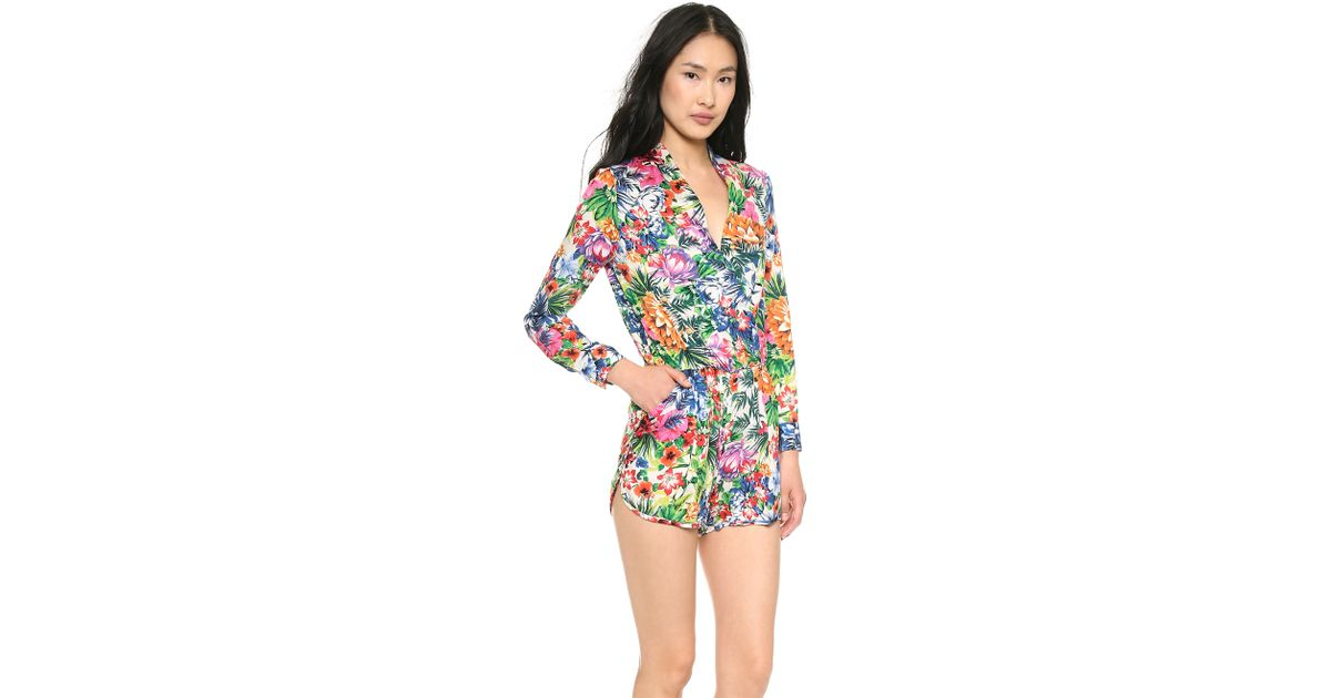 5f0bf366367 Lyst - Shades of Grey by Micah Cohen Long Sleeve Romper Hawaiian Print