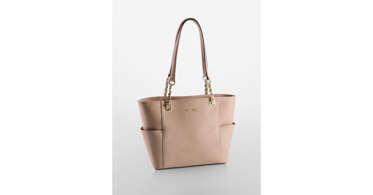 Calvin Klein Saffiano Leather Chain Trimmed Tote Bag In