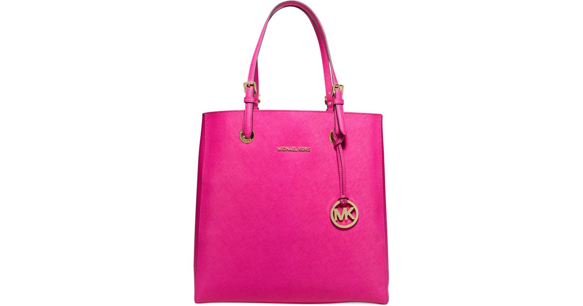 e316c654ca1588 Lyst - Michael Kors Michael Jet Set Travel North/South Tote in Pink