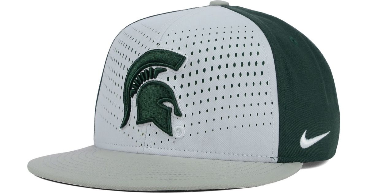 uk availability 37c03 5a63f ... 50% off lyst nike michigan state spartans true seasonal snapback cap in  green for men