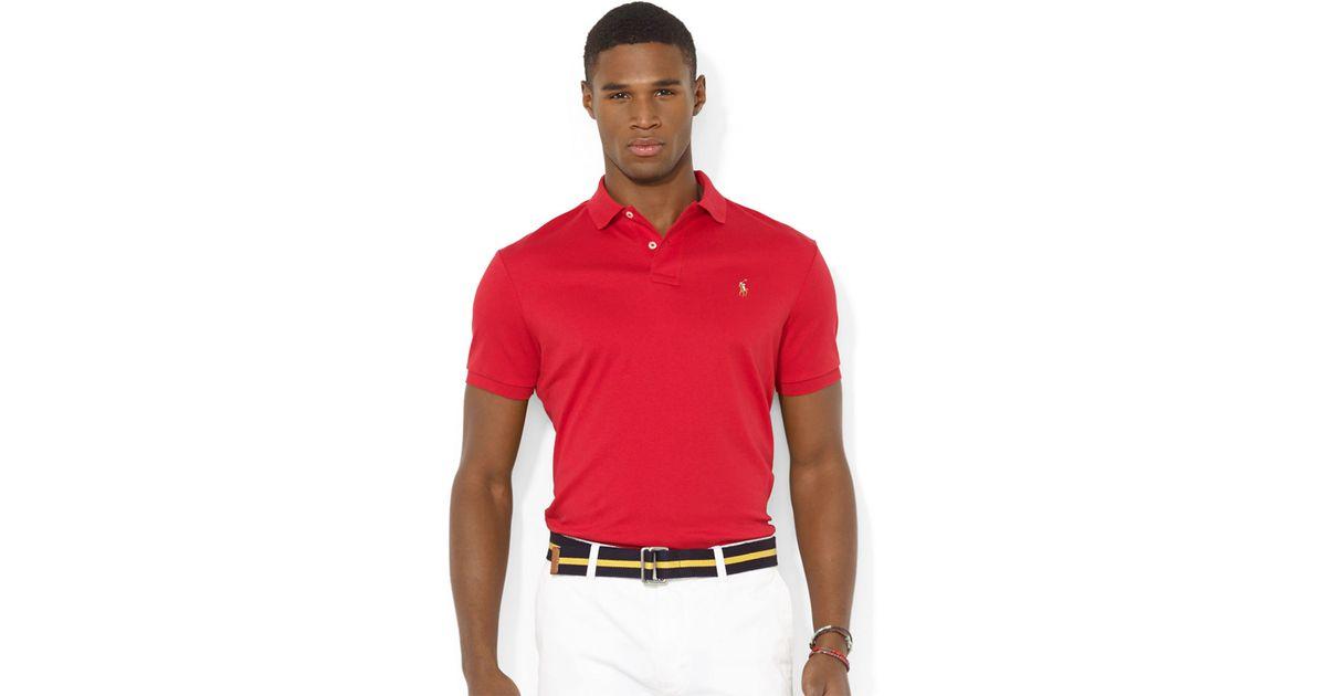 Ralph Lauren Long Sleeved Soft Mesh Men Red Polo