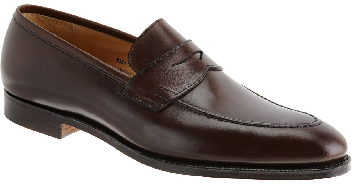 d2291f223952 Lyst - Crockett And Jones Sydney Leather Penny Loafers in Brown for Men