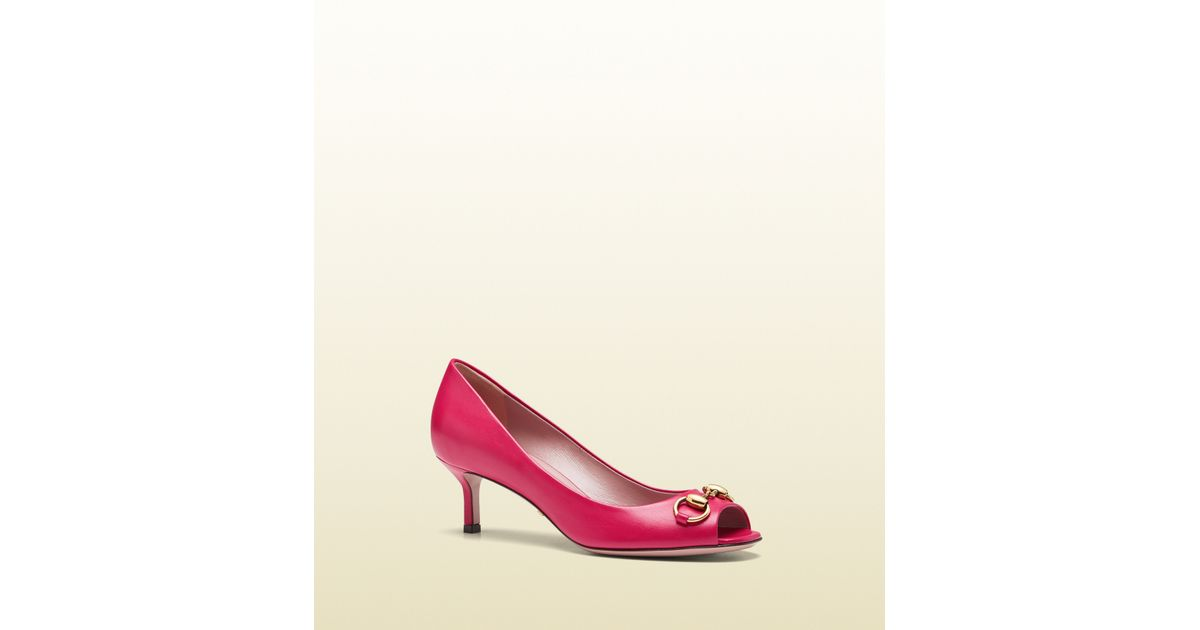 71c3849fc81 Lyst - Gucci Jolene Leather Midheel Pump in Pink