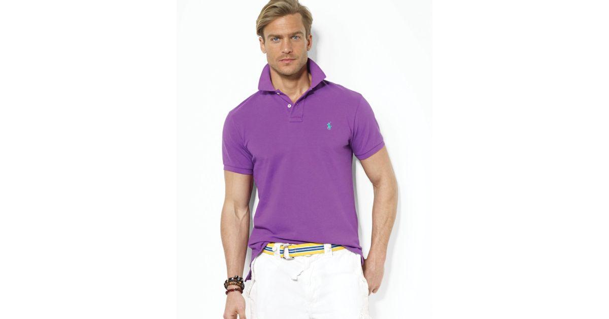 6f9fcedae Ralph Lauren Polo Customfit Mesh Polo Shirt in Purple for Men - Lyst