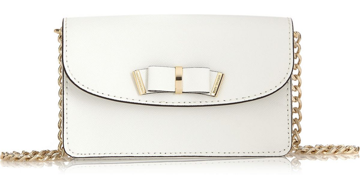 bda7de6b5d4c MICHAEL Michael Kors Bow-embellished Textured-leather Shoulder Bag in White  - Lyst