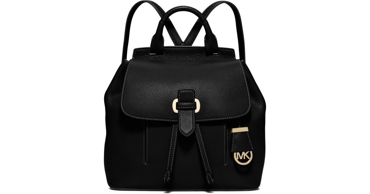 lyst michael kors romy medium leather backpack in black rh lyst com