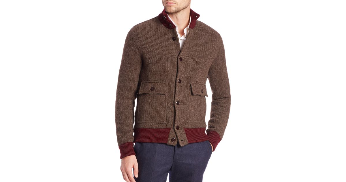 Knitting Pattern Bomber Jacket : Slowear Knit Bomber Jacket in Red for Men (brown) - Save 40% Lyst