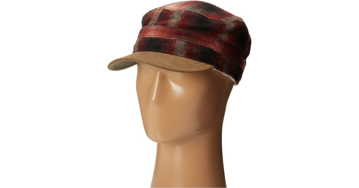 Lyst - Woolrich Wool Cadet Cap with Sherpa Lining in Red for Men 008950358f8