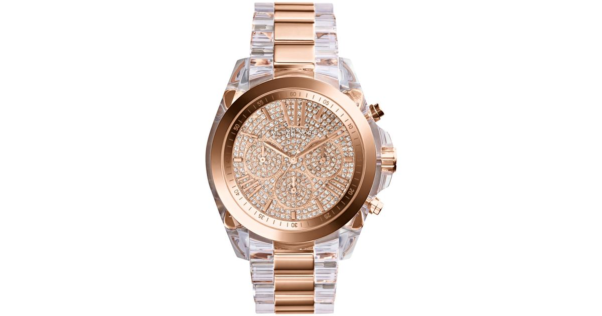 Lyst Michael Kors Womens Chronograph Bradshaw Clear And Rose Goldtone Stainless Steel Bracelet Watch 43mm In Pink