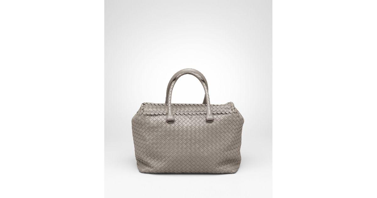 6f161fc82827 Lyst - Bottega Veneta Fume Intrecciato Nappa Brick Bag in Gray