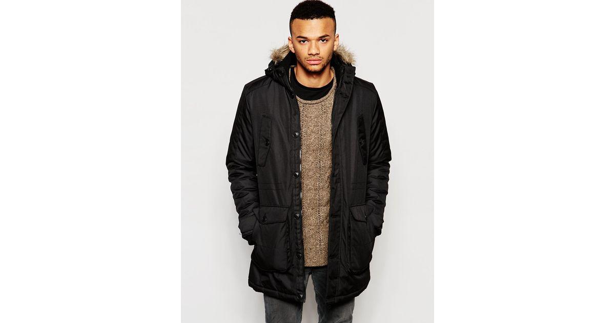 jack jones parka with faux fur hood in black for men lyst. Black Bedroom Furniture Sets. Home Design Ideas