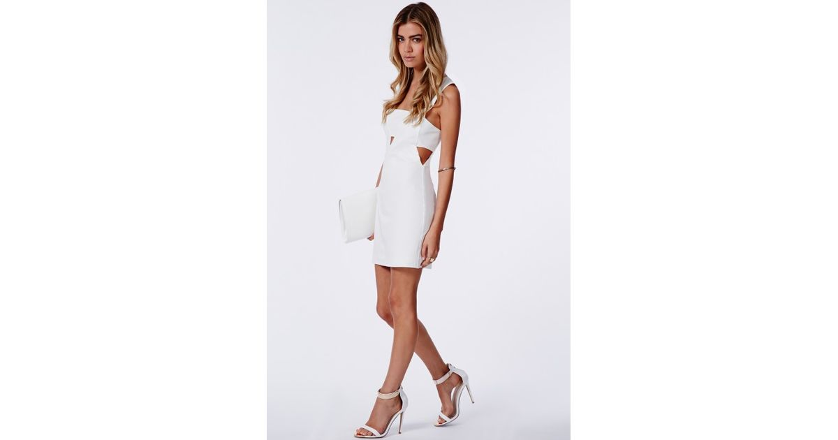 8bb93cc0e79 Missguided Fay Cut Out V Neck Bodycon Dress White in White - Lyst
