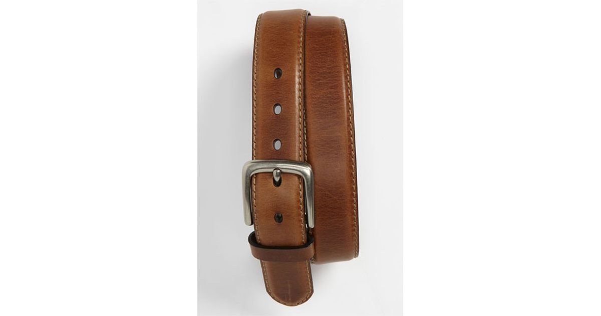 fossil aiden leather belt in brown for lyst