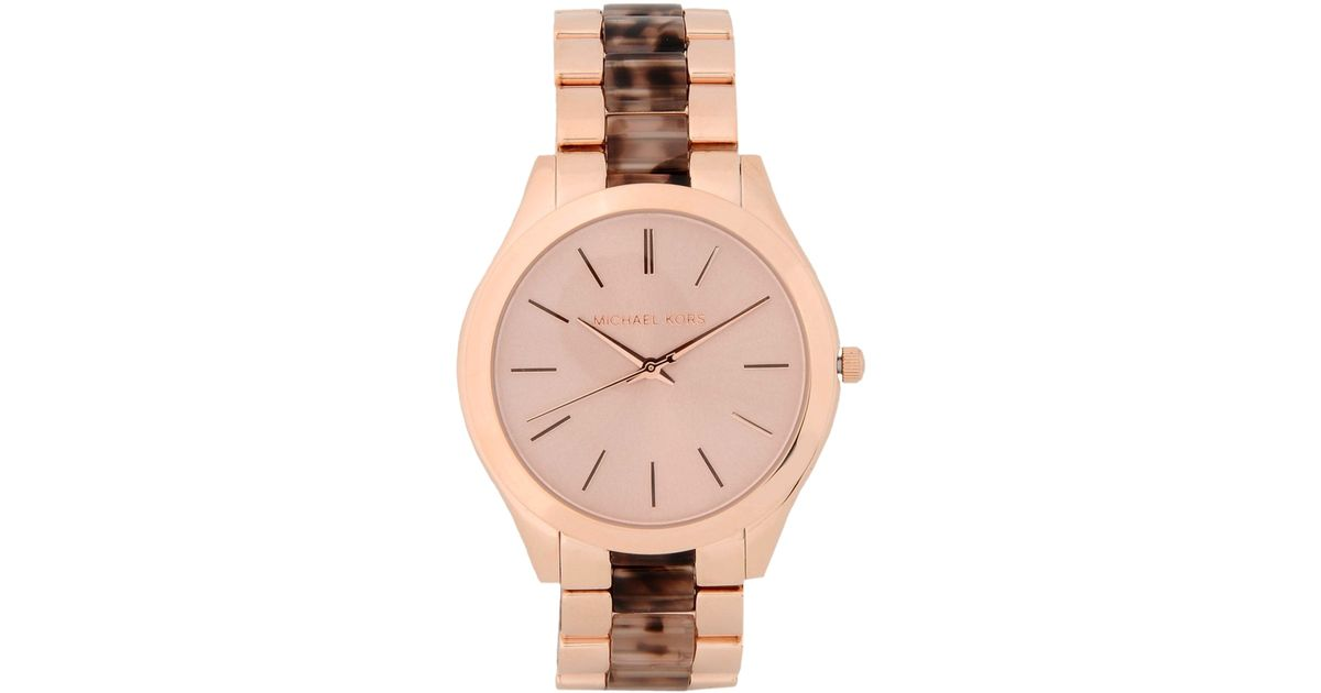 9398396b4476 Lyst - Michael Kors Slim Runway Blush Tortoise and Rose Gold-Toned  Stainless Steel Watch MK4301 in Pink