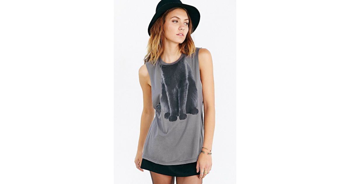 Lyst urban outfitters cat costume muscle tank top in gray for Lucky cat shirt urban outfitters