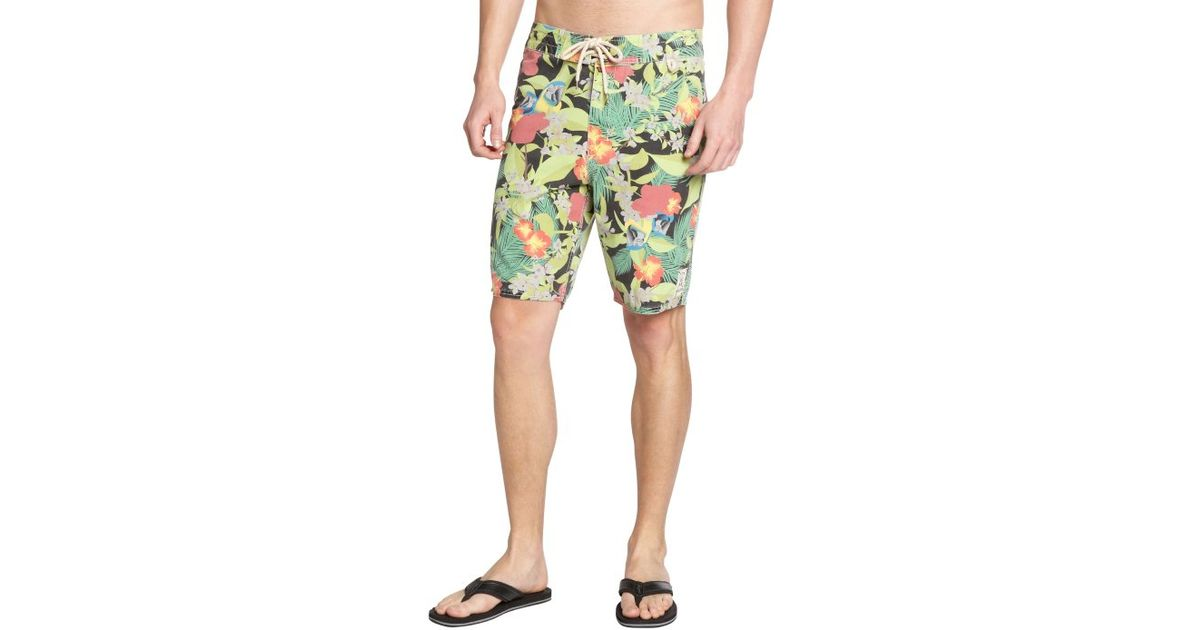 728611f240 Lyst - 3Rd & Army Black Cotton Blend 'cabana' Printed Board Shorts in Green  for Men