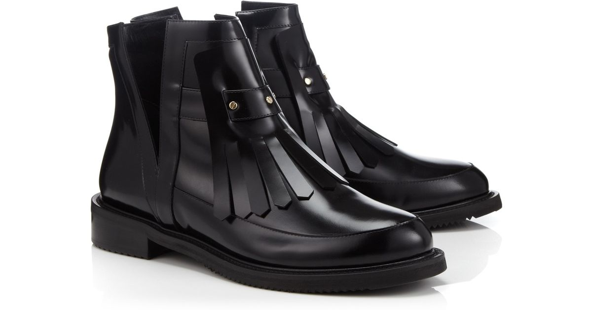 aperlai black leather fringe cut out boots in black lyst