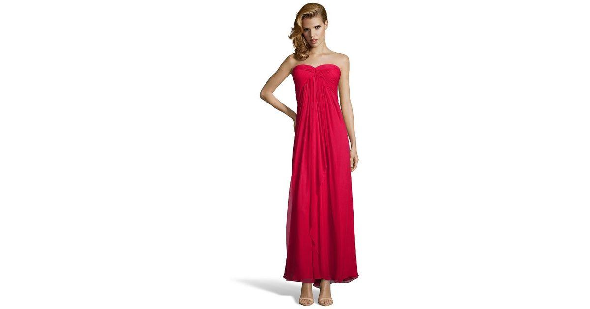 2bbf68bbc78c8 Lyst - Jill Jill Stuart Red Chiffon Strapless Thigh High Slit Long Dress in  Red