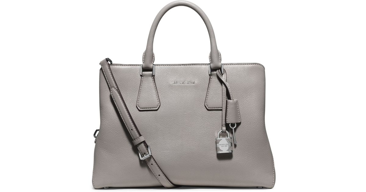 70bc05649d1d Lyst - Michael Kors Camille Large Leather Satchel in Gray