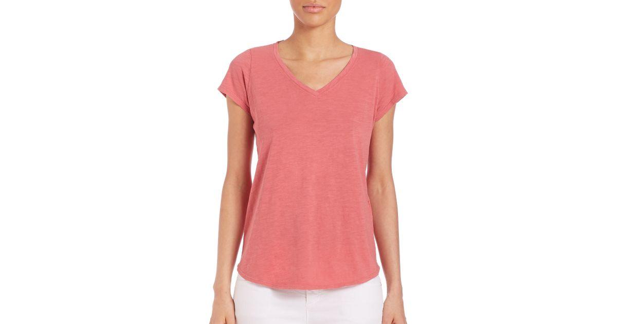 Eileen fisher slubby organic cotton tee in pink sandstone for Eileen fisher organic cotton t shirt