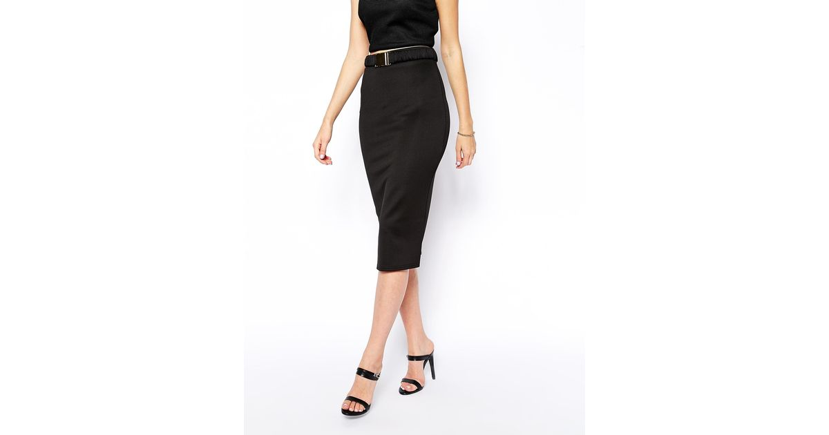 Asos Pencil Skirt in Scuba with Belt in Black | Lyst