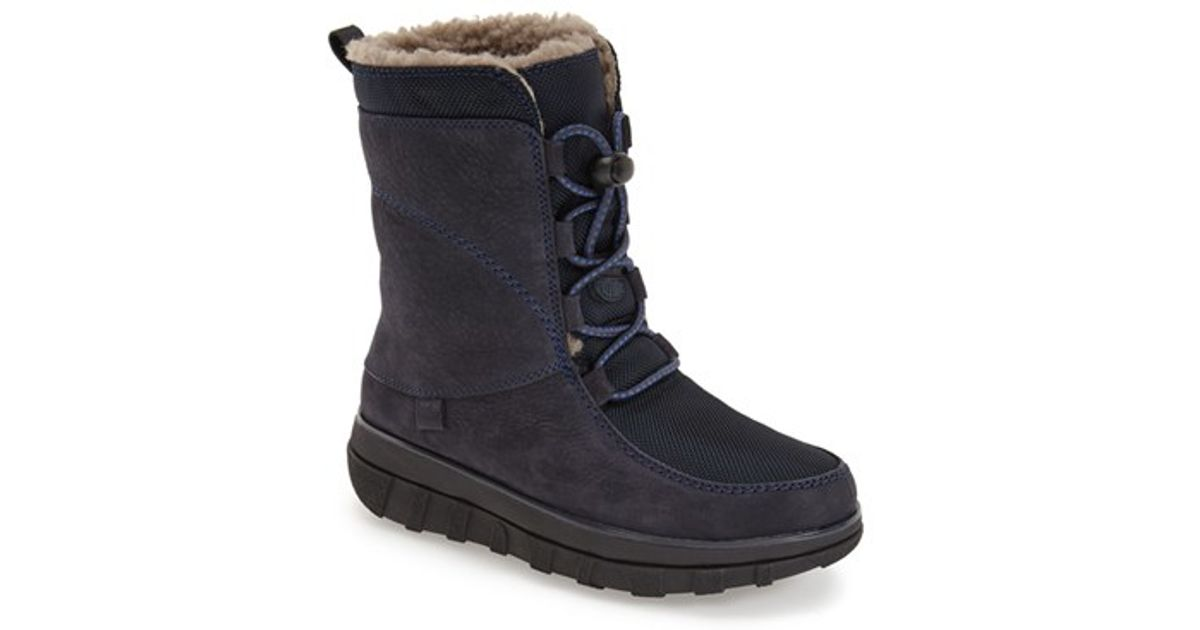 d810365161a Lyst - Fitflop  sporty  Lace-up Mukluk With Genuine Shearling Lining in Blue