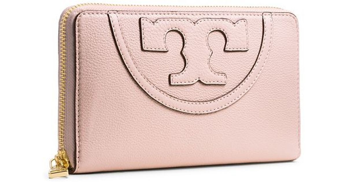 c14fd663f2 Tory Burch All-t Zip Continental Wallet in Natural - Lyst