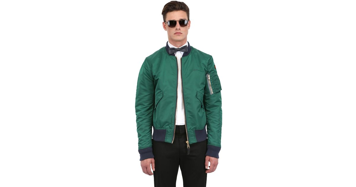 american college usa schott nylon bomber jacket in green. Black Bedroom Furniture Sets. Home Design Ideas