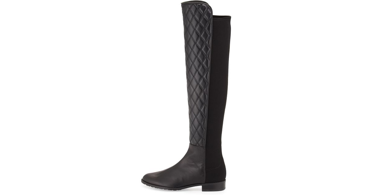 54c1b7ae156 Lyst - Stuart Weitzman Quiltboot 50 50 Over-the-knee Boot in Black