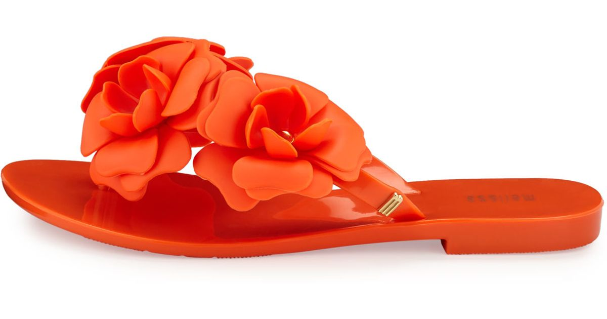 10487b272511 Lyst - Melissa Harmonic Garden Flower-embellished Thong Sandal in Orange