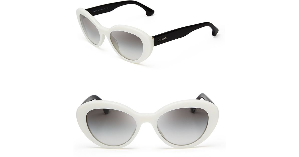 34ae6ec5d60 ... netherlands lyst prada cat eye sunglasses in white 1b2d4 9c1ac