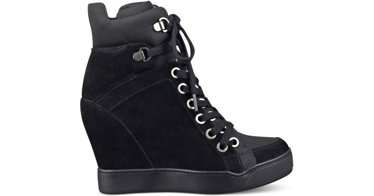 a2fd4172a60 Lyst - Guess Women s Matty Wedge Sneakers in Black
