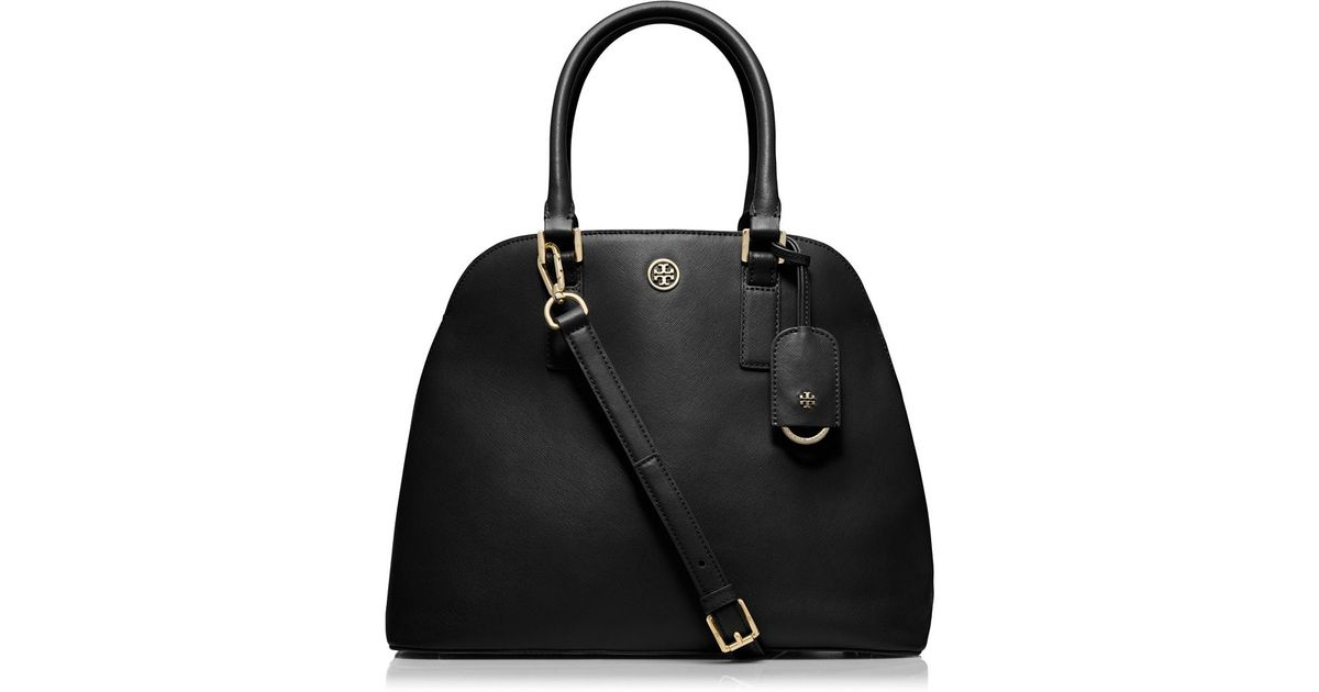 50d4d2a4ad2c Tory Burch Robinson Open Dome Satchel in Black - Lyst