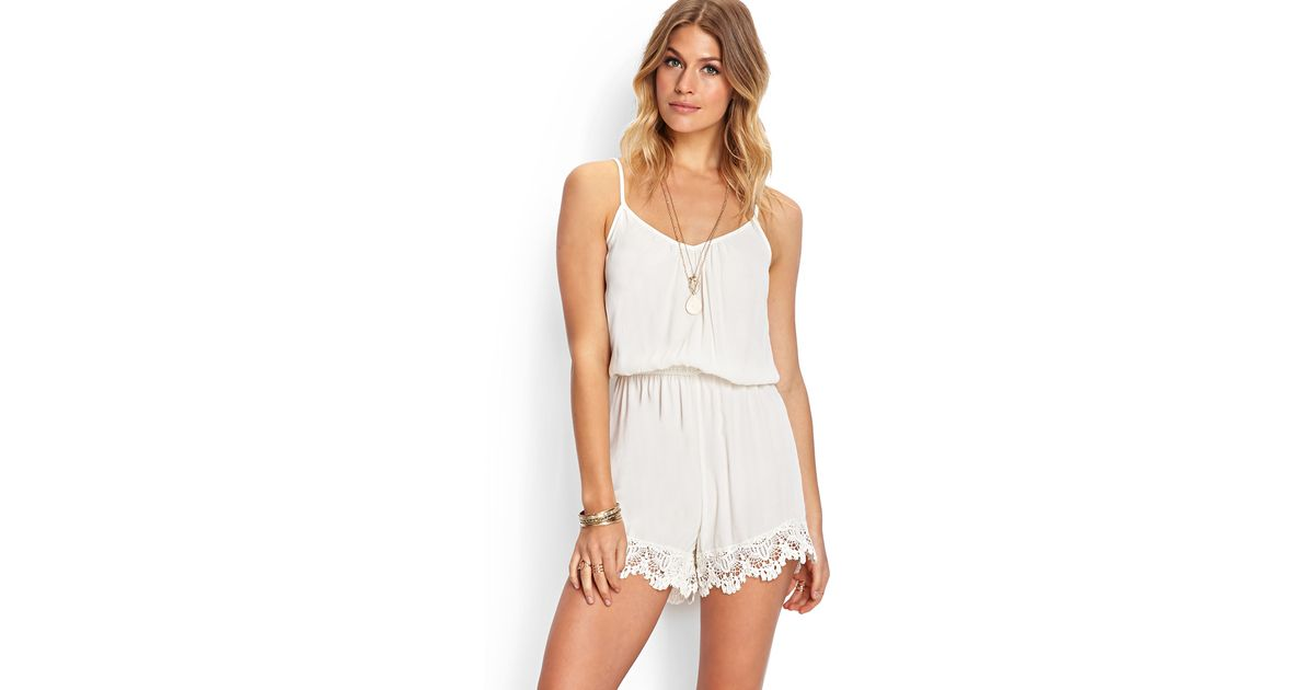 666d070e2651 Lyst - Forever 21 Mysterious Muse Crochet Romper in Natural