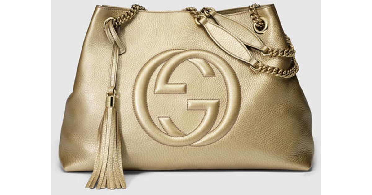 5be14273b904 Gucci Soho Metallic Leather Shoulder Bag in Metallic - Lyst