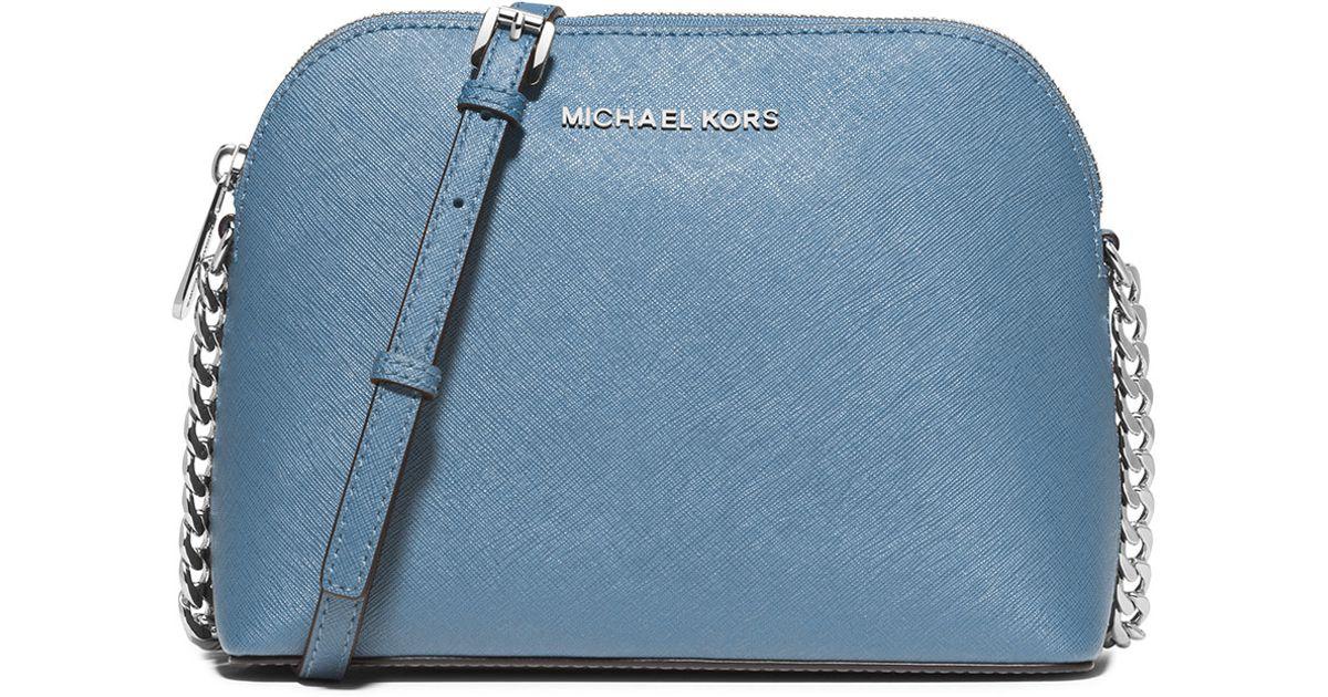 a598a4de3d45 ... wholesale lyst michael michael kors cindy large dome saffiano crossbody  bag in blue 8948a a2161