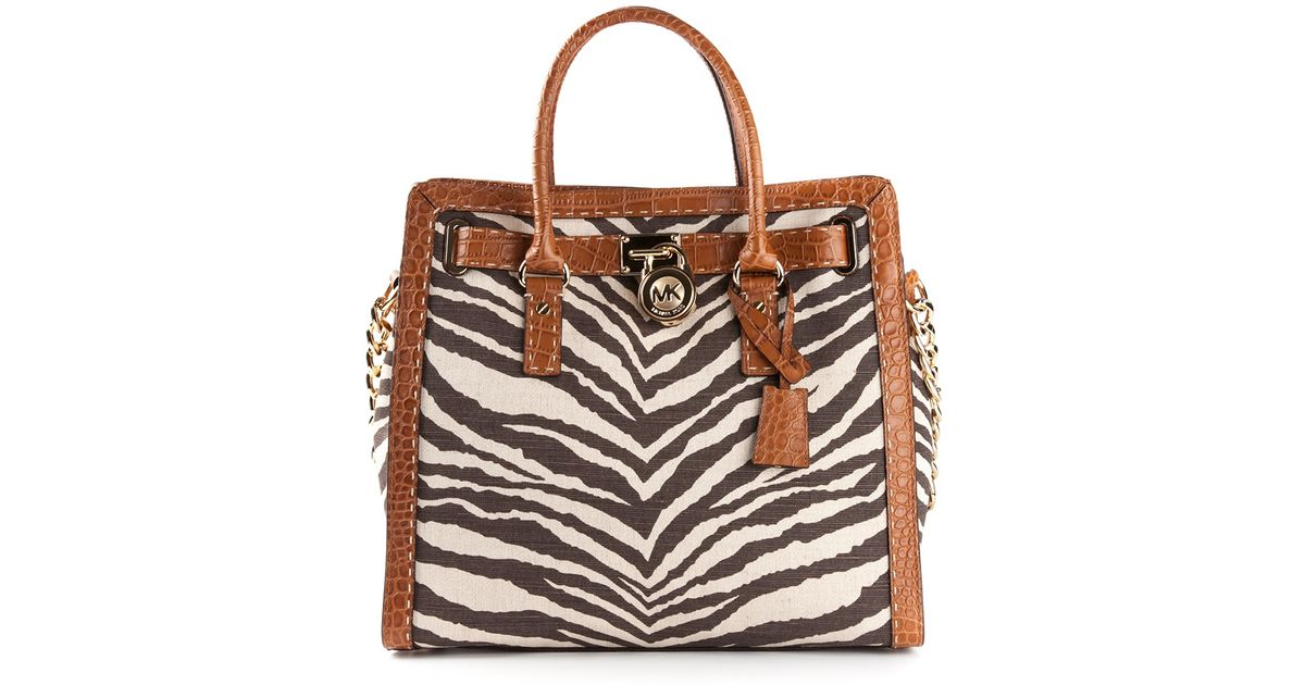 016630c814c3 MICHAEL Michael Kors Hamilton Zebra Print Shoulder Bag in Brown - Lyst