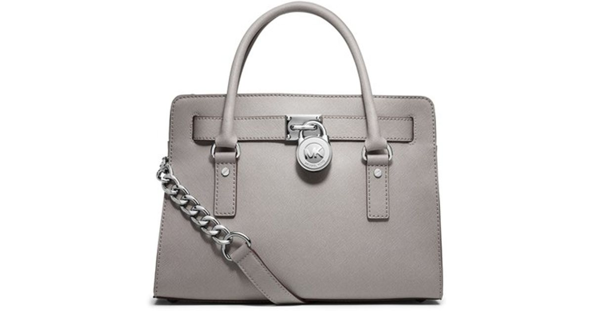 24a672e79a94 ... Lyst - Michael Michael Kors medium Hamilton Saffiano Leather Satchel in  Gray ...