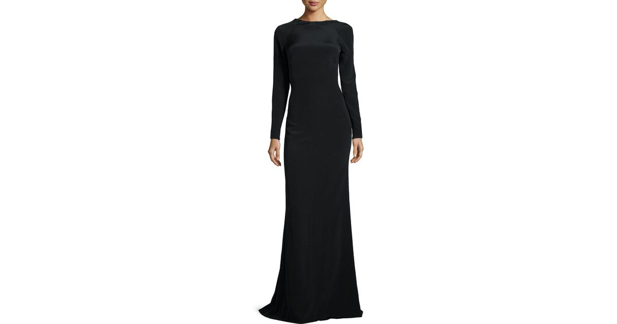Lyst - Kaufman Franco Long-sleeve Backless Gown in Black
