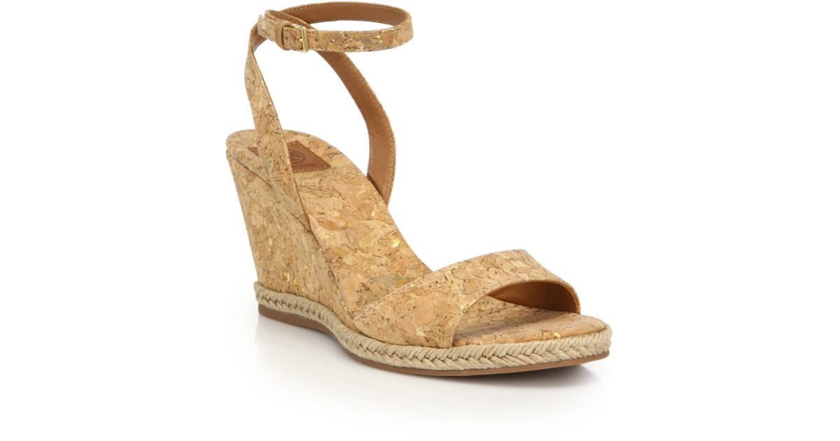 26706c59b Tory Burch Marion Cork Wedge Sandals in Natural - Lyst