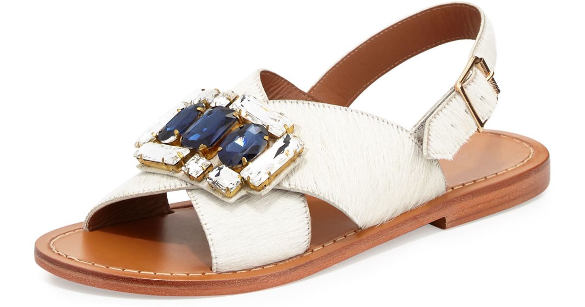 01c20846e8dd Lyst - Marni Jeweled Calf-Hair Sandals in White