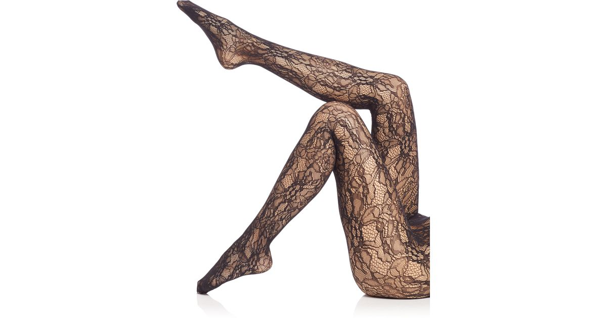 721adb891 Wolford Floral Lace Net Tights in Black - Lyst